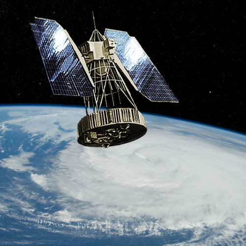 Artist's conception of Nimbus 1 weather satellite in orbit, NASA illustration Nimbus-1.jpg